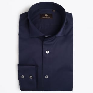 - Agostino WS Luxury Cotton Shirt - Navy