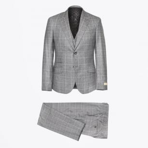 - Alexander 3 Piece Check Suit - Grey