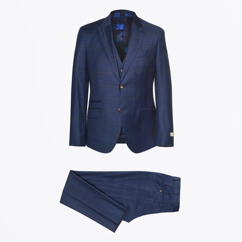 02a8b2dd14c9 Alexander 3 Piece Check Suit - Navy | Mens Suits | Circle of Gentlemen