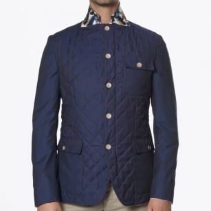 | Bond Quilted Contrast Stitch Jacket - Navy