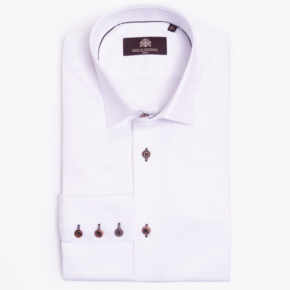 Gerard one button collar mens designer shirts circle of for White shirt brown buttons