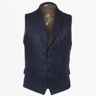   Hamilton Check Waistcoat - Navy