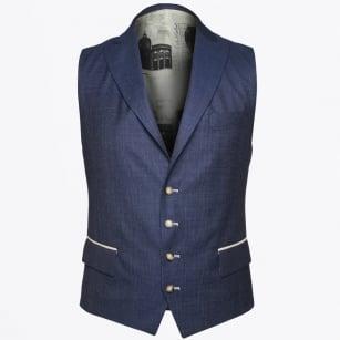 | Hamilton Fine Check Wool Waistcoat - Navy