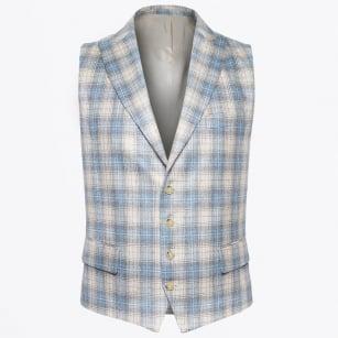 | Hamilton Fine Check Wool Waistcoat - Sand