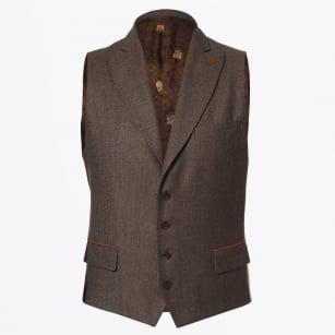   Hamilton Houndstooth Waistcoat - Light Brown
