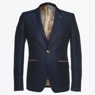 | Harrison Linen Herringbone Jacket - Navy
