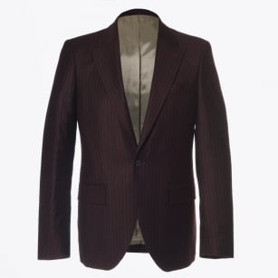 - Houston Pin Stripe Blazer - Burgundy