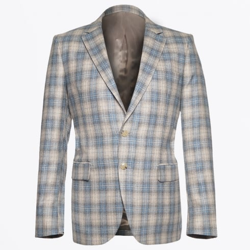 Circle Of Gentlemen - Houston Wool Silk Check Blazer - Sand