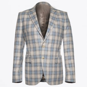 | Houston Wool Silk Check Blazer - Sand