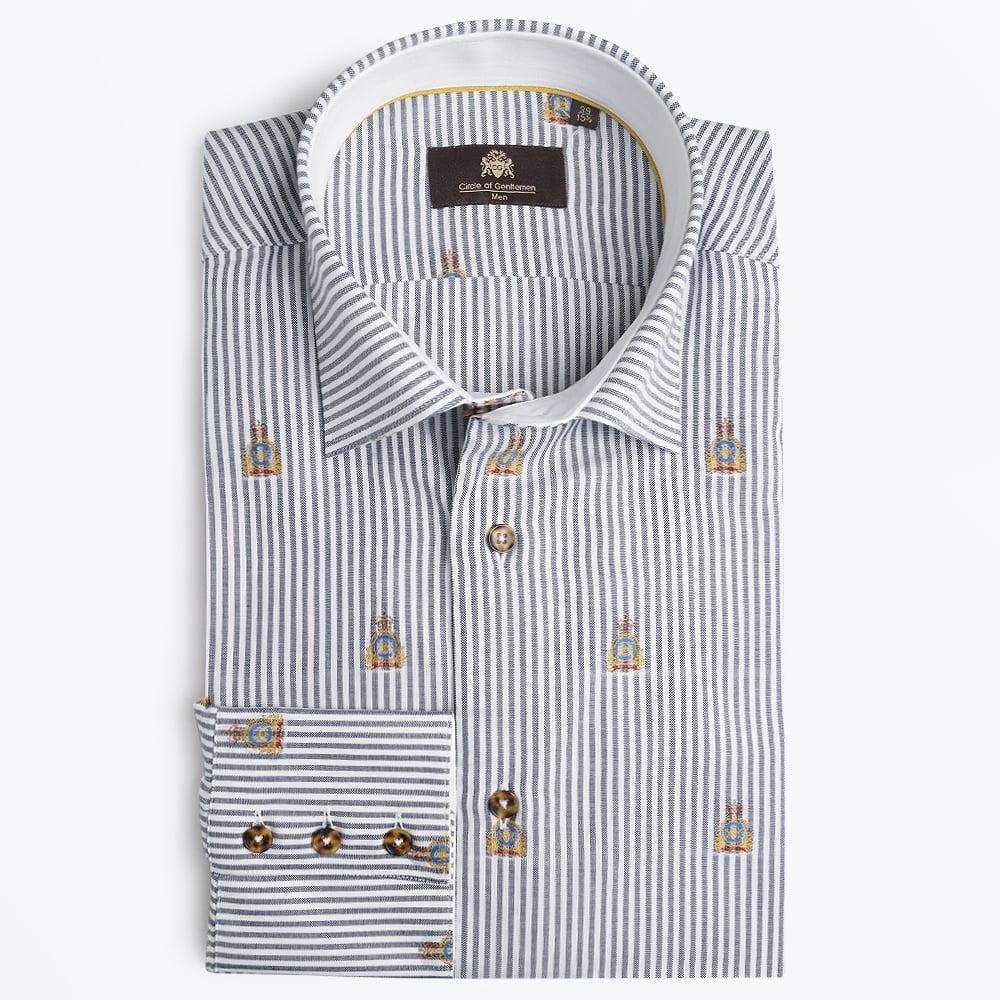 circle of gentlemen jasper navy stripe logo shirt mr. Black Bedroom Furniture Sets. Home Design Ideas