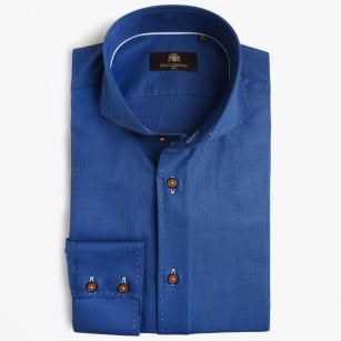 | Javen Contrast Stitch Trim Shirt - Cobalt