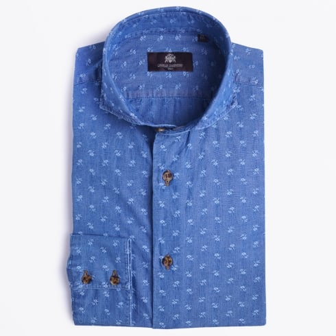 Circle Of Gentlemen - Jazz Embroidered Floral Shirt - Indigo Denim