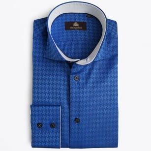 | Jenoah Dog Tooth Check Shirt - Cobalt