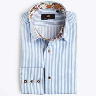 | Jumano Stripe Shirt With Strawberry Inset - Light Blue