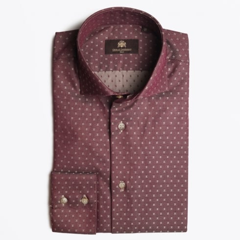 Circle Of Gentlemen - Kaelon Fine Check WS Shirt - Bordeaux