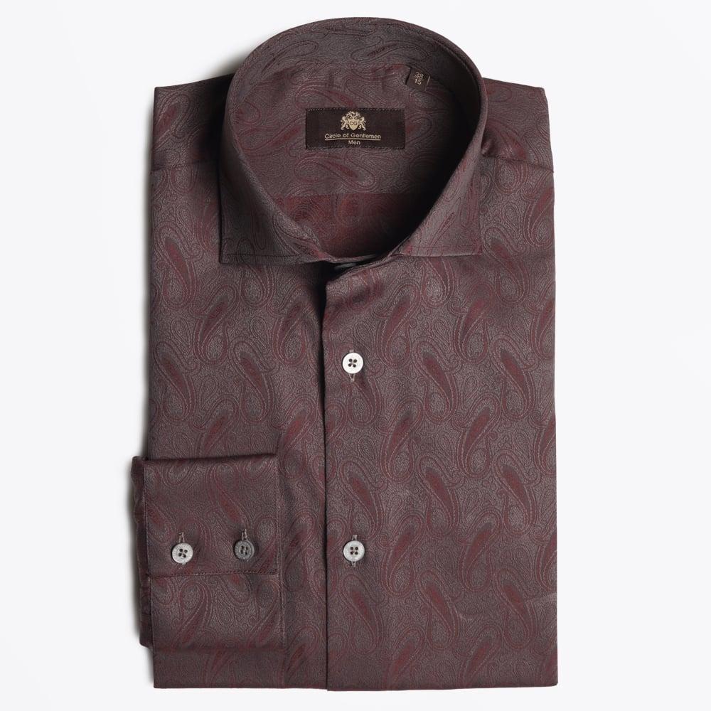 circle of gentlemen kane paisley shirt bordeaux mr. Black Bedroom Furniture Sets. Home Design Ideas