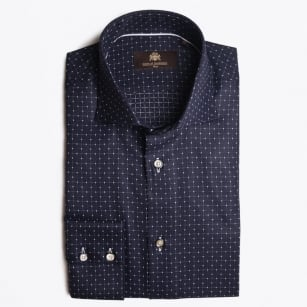 - Kayron Fine Check WS Shirt - Navy