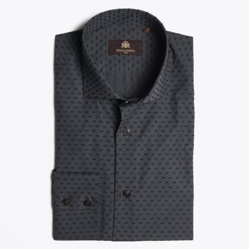 Circle Of Gentlemen - Kent Dot Weave Shirt - Dark Grey