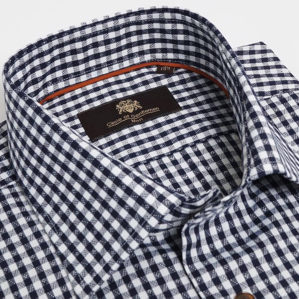 Mens Designer Check Shirts   Latimer 1 Button Low Mens Designer Shirt Circle Of Gentlemen