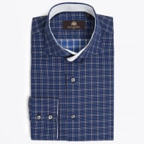 - Leo Navy Shirt - Small Square Check