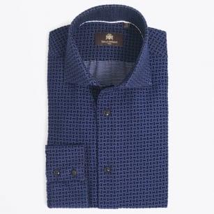 | Leonardo Velour Texture Shirt - Navy