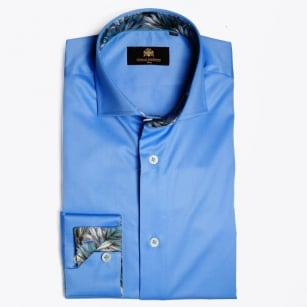 - Macauliffe Palm Insert Shirt - French Blue