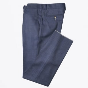 | Madoc Fine Check Wool Trousers - Navy