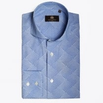 - Madrid Printed Sky Blue Stripe Shirt