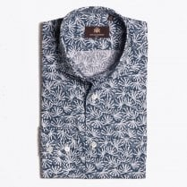- Maeven - Abstract Floral Print Shirt - Dark Blue
