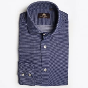 - Mauro Pinpoint Weave Print Shirt - Blue