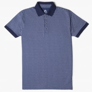 - Michael Square Print Polo Shirt - Navy