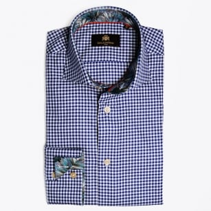 - Milow Gingham Palm Insert Shirt - Navy