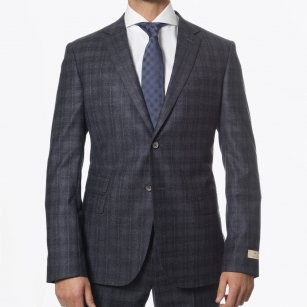 | Parker Check Wool Suit - Charcoal