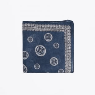 | Big Circle Print Pocket Square - Navy