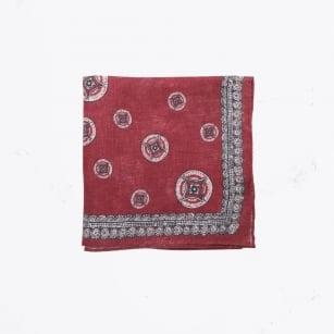 | Big Circle Print Pocket Square - Red