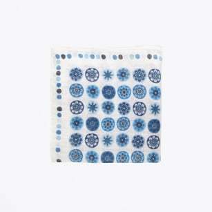 | Circle Print Pocket Square - Blue