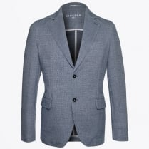 - Linen Look Print Blazer - Soft Blue