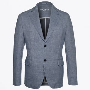 | Linen Look Print Blazer - Soft Blue