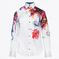 - Floral Bird Print Shirt - Blue