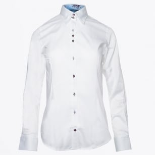- Rose Insert Collar Shirt - White