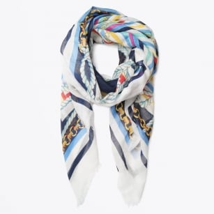 | Anchor Stripes Scarf - Blue