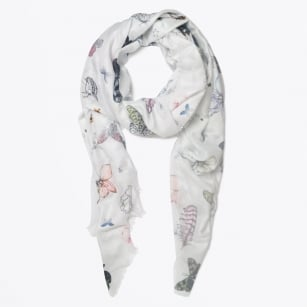 - Butterfly Snake and Flowers Scarf - Grey