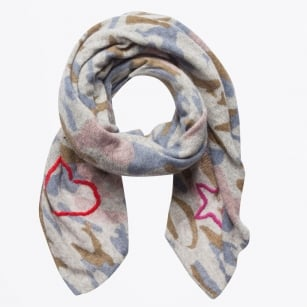 - Camouflage Love Heart Knitted Scarf - Light Grey