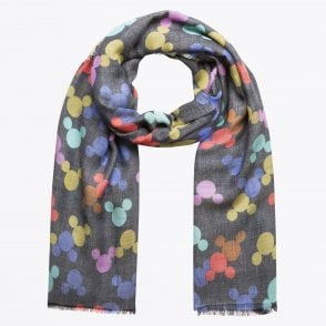 - Mickey Mouse Motif Scarf - Blue