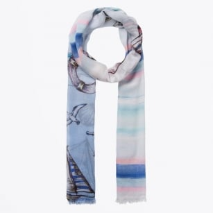 - Nautical Digital Print Scarf - Blue
