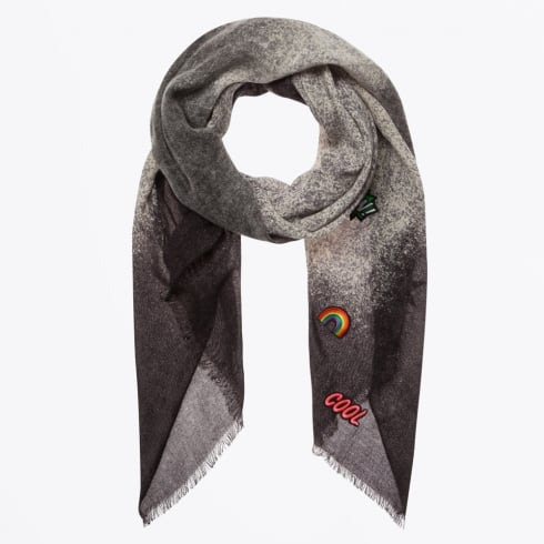 Codello - Patches On Ombre Scarf - Black