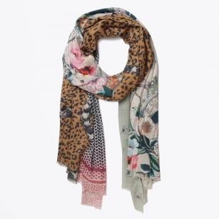 | Snake & Flower Digital Print Scarf - Multicolour