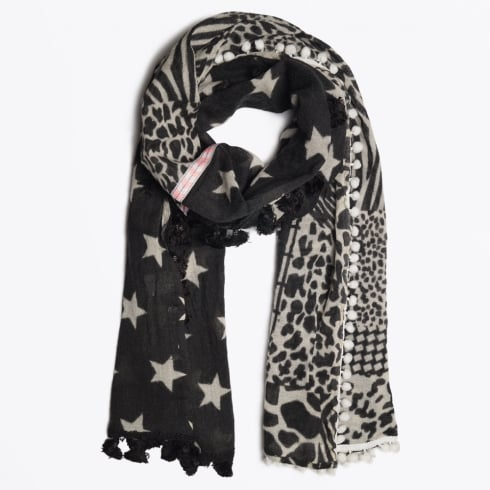 Codello - Stars & Animal Patch Scarf - Black