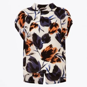- High Collar Top With Flower Print - Rust/Blue