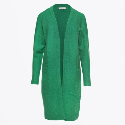 - Long Mohair Cardigan - Grass Green